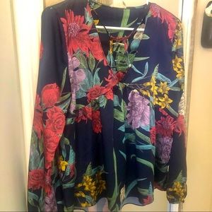 Anthropologie current air floral l/s blouse